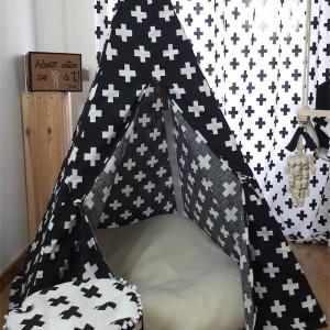 Conjunto de cortinados, tenda tipi e puff